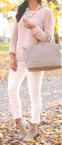 A Southern Drawl Blush Pink On White Fall Street Style Inspo