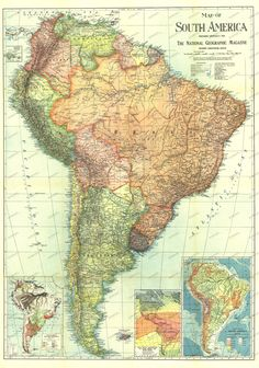 1921 National Geographic Magazine Map of South America