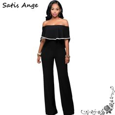 082b3f92543 Summer Black Jumpsuit Women Strapless Off Shoulder Sexy Ruffles Rompers  Casual Long Pants Back Zipper Rompers Womens Jumpsuit