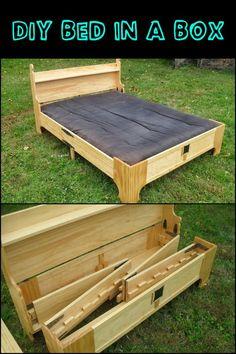 Cool 47 Impressive Vintage Bed Design Ideas Using Wood. Folding Bed Frame, Folding Beds, Space Saving Beds, Space Saving Furniture, Folding Furniture, Diy Furniture, Furniture Design, Murphy-bett Ikea, Diy Bett