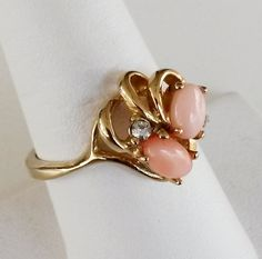 Vtg 1970s Pink Coral Clear Rhinestone Gold Tone Cocktail Ring Size 7.75 #NotSigned #Cocktail