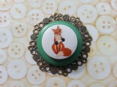 Green fox inspired layered button brooch broach by maxollieandme