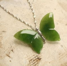 Butterfly Necklace - Nephrite Jade - Sterling Silver - Hand Carved Jade Jewelry. $95.00, via Etsy.