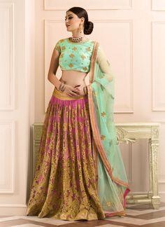 Buy Unique Net Multi Colour A Line Lehenga Choli, Online #designerlehenga #bridallehenga #weddinglehenga #lehengacholi