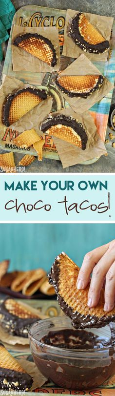 Homemade Choco Tacos! Recreate an amazing childhood favorite and fill it with your favorite kind of ice cream!   From SugarHero.com