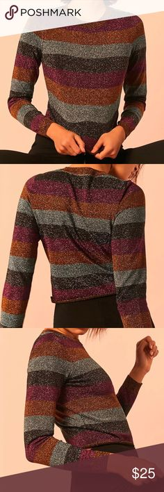 NWT Sparkling Striped Sweater Sparkling striped sweater  Fits TTS  NWT - multiple sizes  Rolled hem at bottom, bracelet sleeves Sweaters Crew & Scoop Necks