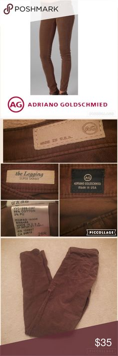 """Adriano Goldschmeid AG corduroy leggings 26 Camel colored corduroy super skinny leggings by AG Adriano Goldschmeid. 5 pocket styling, zip fly, brass plated buttons. 98% cotton & 2% PU. Low rise, 7.5"""" & 32"""" inseam. Worn a few times💖 AG Adriano Goldschmied Pants Skinny"""