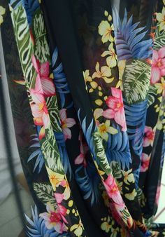 Fine Tropical Floral Print Polyester Georgette Dress Fabric