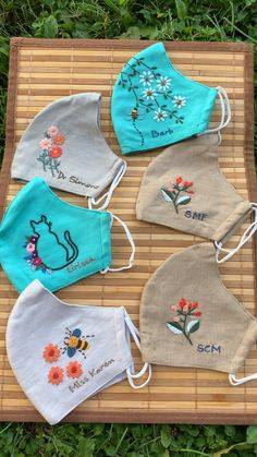 Basic Embroidery Stitches, Hand Embroidery Videos, Embroidery Flowers Pattern, Hand Embroidery Patterns, Sewing Patterns, Broderie Simple, Sewing Techniques, Diy Face Mask, Mask Design