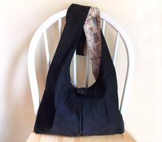 Hobo Bag Sling Bag Black Solid Color Bag French by 2LeftHandz