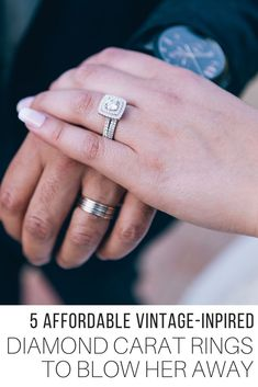 Unique vintage-inspired diamond carat engagement rings selection from The Wardrobe Stylist. A guide to help you choose which type of ring will impress your partner from engagement rings, to wedding bands, stackable rings, with other stones mixed in at affordable prices. #WeddingRings #EngagementRings #Rings