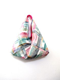Bento Bag Origami Tote Market Sack Reclaimed Fabric Pouch Reversible Triangle Shoulder Japanese Style Carrier Slouchy Boho Hobo Handbag