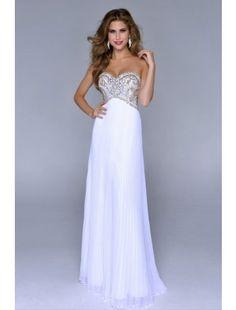 Sweetheart Full Beaded Bodice Floor Length Pick Up Shirred Chiffon Skirt White Prom Dress