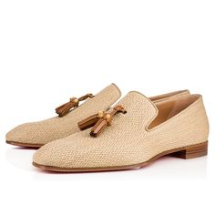 Christian Louboutin United States Official Online Boutique - Dandelion Tassel Flat Sable/Corne 3 Rafia available online. Discover more Men Shoes by Christian Louboutin Mens Suede Dress Shoes, Leather Shoes, Men's Shoes, Shoe Boots, Shoes Men, Girls Shoes, Louboutin Online, Dream Shoes, Fashion Shoes