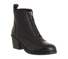 Office Crimson Front Zip Boot Black Nubuck - Ankle Boots