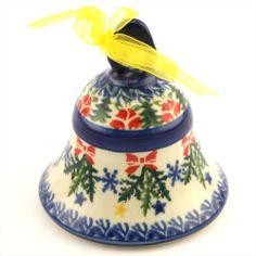 Ceramic bell - Polish pottery - Polská keramika - Krásný ručně zdobený keramický zvonek