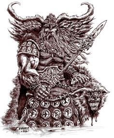 I recently did a mass purging of my gallery. In it, was a pic of Odin and his ravens i did way back in Figured it was time for an update. This was originally just gunna be a warm-up sketch, bu. Norse Mythology Tattoo, Norse Tattoo, Viking Tattoos, Viking Dragon, Viking Art, Viking Warrior, Fenrir Tattoo, Odin Allfather, Viking Character