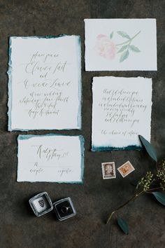 Romantic Calligraphy Dip Dyed Wedding Invitations Art + Alexander / Oh So Beautiful Paper