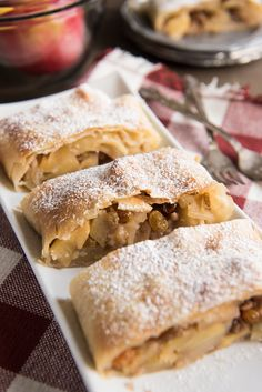 This Apfelstrudel recipe (German Apple Strudel recipe) might sound daunting, but it's much easier than it seems and so much fun to make. And the resulting apple strudel is a delicious, festive dessert filled with German Desserts, Köstliche Desserts, Delicious Desserts, Dessert Recipes, Diabetic Desserts, Healthy Desserts, Austrian Recipes, Croatian Recipes, Apfelstrudel Recipe