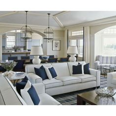 White sofa with contrast piping