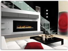 "A modern gas fireplace that hangs on your wall. Ideal for modern and contemporary rooms, the Napoleon Plazmafireâ""¢ 31 Gas Fireplace features easy installation plus all of the conveniences of a gas fireplace. Direct Vent Gas Fireplace, Linear Fireplace, Fireplace Inserts, Fireplace Design, Fireplace Ideas, Fireplace Showroom, Fireplace Screens, Fireplace Mantels, Mantle"