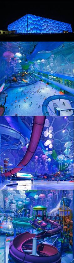 China Olympic cube turned into an indoor water park!!