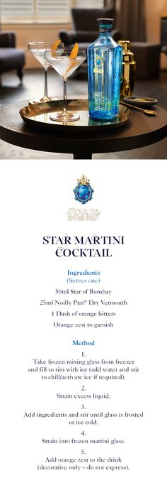 Star Martini | A step-by-step guide to creating a Star Martini Cocktail | 50ml Star of Bombay | 25ml Noilly Prat Dry Vermouth | 1 Dash of orange bitters | Orange zest to garnish