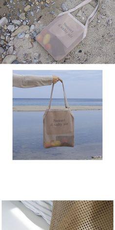 텐바이텐 : sunset mesh bag - 썬셋 메쉬 백 (베이지) Tenbyen Sonnenuntergang Netzbeutel-Sonnenuntergang Netzbeutel (beige) Clear Tote Bags, Japanese Bag, Diy Tote Bag, Net Bag, Bag Packaging, Basket Bag, Fabric Bags, Shopper Bag, Reusable Bags