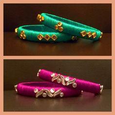 Silk Thread Bangles Design, Silk Thread Necklace, Thread Jewellery, Jewellery Making, Beaded Jewelry, Kundan Bangles, Silk Bangles, Bangle Set, Stackable Bracelets
