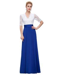 Korean Dress Party Evening Elegant Long Summer Dresses Casual Grace Karin V Neck Lace Split Dress Half Sleeve Vestidos Femininos -- Check out the image by visiting the link.