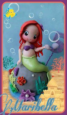 Sirenita Ariel en porcelana fria   #Sirenita #princesa #princesaariel