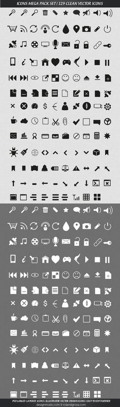 Free Mega Pack Vector Icons Set – 129 Clean Icons