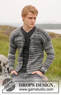 "Knitted DROPS jacket for men with rounded neckline in ""Fabel"" and ""Delight""."