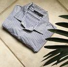 ✯Ð Ralph Lauren Mens #4 Button Striped Polo Shirt Size L #Short #Sleeve Gray... Low http://ebay.to/2vsugrA