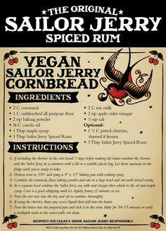The Original Sailor Jerry Spiced Rum Vegan Sailor Jerry Cornbread Rum Recipes, Retro Recipes, Vintage Recipes, Vegan Recipes, Cooking Recipes, Smoker Recipes, Alcohol Recipes, Copycat Recipes, Cake Recipes