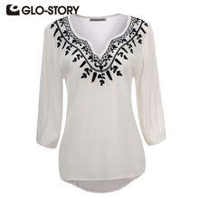 GLO-STORY Marca Mulheres Blusa 2016 Nova Primavera & Verão Mulheres camisas Branco Bordado Com Decote Em V de Três Quartos Das Mulheres Encabeça Blusa(China (Mainland))