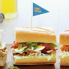 Cobb Salad Sandwiches Recipe | MyRecipes.com Post-tailgating idea.