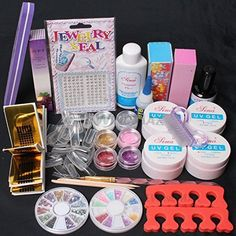 US Seller ~ Nail Art Comb Set UV Gel Kit UV Brush Buffer Guides Toe Seperator Glitter Powder Dryer Liquid Tools Nail Tips Glue DIY Kit -168 (G) -- You can get more details by clicking on the image.