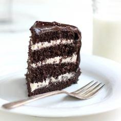 Salted Caramel Buttercream Chocolate Cake + Ganache  #foodgawker