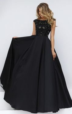 Sexy Black Prom Dress, Beading Prom Dress,2016 Prom Dress, Cap Sleeve Prom…