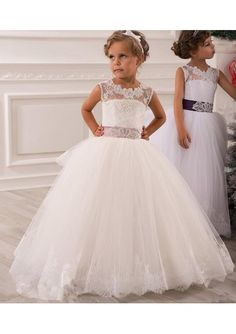 Wedding dress online shop - New Flower Girls' Dresses Little Girl Formal Gown With Sheer Neckline A-Line Lace Jewel Bow Appliques Sequins