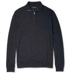 Milanese brand <a href='http://www.mrporter.com/mens/Designers/Ermenegildo_Zegna'>Ermenegildo Zegna</a> is an industry leader when it comes to producing top-quality, original fabrics. Designed in masculine navy, this half-zip sweater has been knitted in Italy from lightweight wool that has a particularly fine and soft texture. It's designed for a semi-fitted shape that looks smart but is still generous enough to layer over shirting or tees.