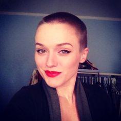 Red lip w/ buzz  #hairdare