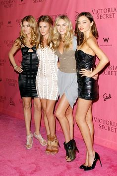 May 11 2010 With Doutzen Kroes, Rosie Huntington-Whiteley and Candice Swanepoel at a Victoria's Secret party in Los Angeles.