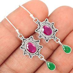 Ruby-Emerald-925-Sterling-Silver-Earrings-Jewelry-SE95042