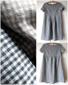 Pure linen dress tunic for women. Checkers oatmeal by Japanese Sewing, Japanese Style, Linen Tunic, Linen Dresses, Patch, Sewing Clothes, Dressmaking, Mantel, Beautiful Dresses
