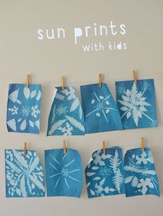 Sun prints are so easy, fun, and exciting to make with kids. They are also calle… Sun prints are so easy, fun, and exciting to make with kids. They are also called cyanotypes and can be made on fabric as well as paper. Arts And Crafts For Teens, Art And Craft Videos, Arts And Crafts House, Easy Arts And Crafts, Art Activities For Kids, Preschool Art, Crafts For Kids, Easy Art For Kids, Kindergarten Art
