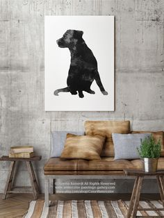 Labrador Retriever Painting, Black and White Illustration, Dog Art Print, Watercolor Pet Portrait Grey Wall Decoration, Kids Room Art by Silhouetown on Etsy