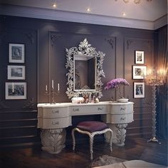Vanity...love the grey & white with a dash of purple