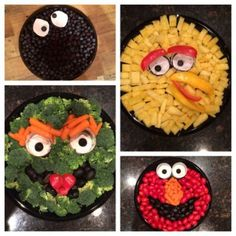 Sesame Street fruit and veggie trays . can also use cheese cubes for Big Bird Monster Party, Elmo Party, Mickey Party, Dinosaur Party, Dinosaur Birthday, Sesame Street Food, Sesame Street Party, Sesame Street Birthday Party Ideas, Elmo First Birthday